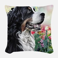 Bernese Mountain Dog Painting Woven Throw Pillow