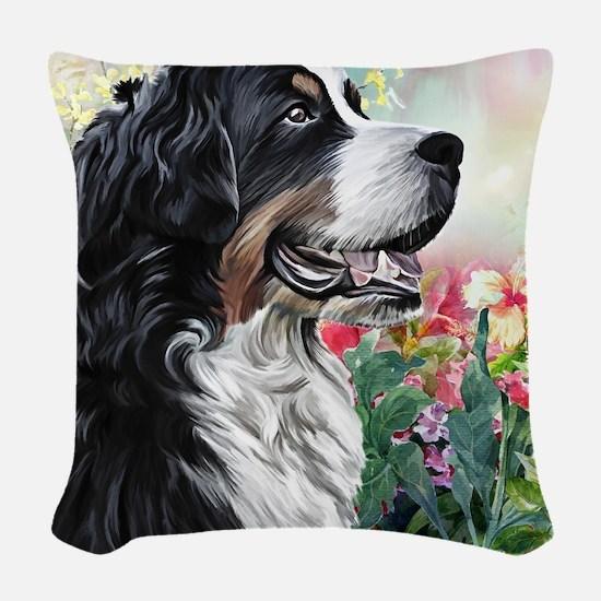Bernese Mountain Dog Painting Woven Throw Pillow
