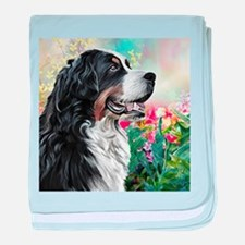 Bernese Mountain Dog Painting baby blanket