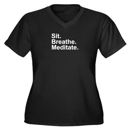 WiseFolly Women's Plus Size V-Neck Dark T-Shirt