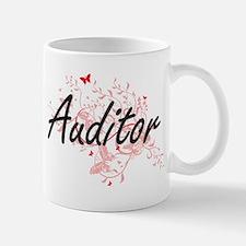 Auditor Artistic Job Design with Butterflies Mugs