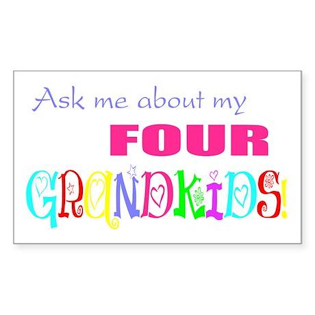 Four Grandkids Rectangle Sticker