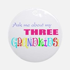 Three Grandkids Ornament (Round)