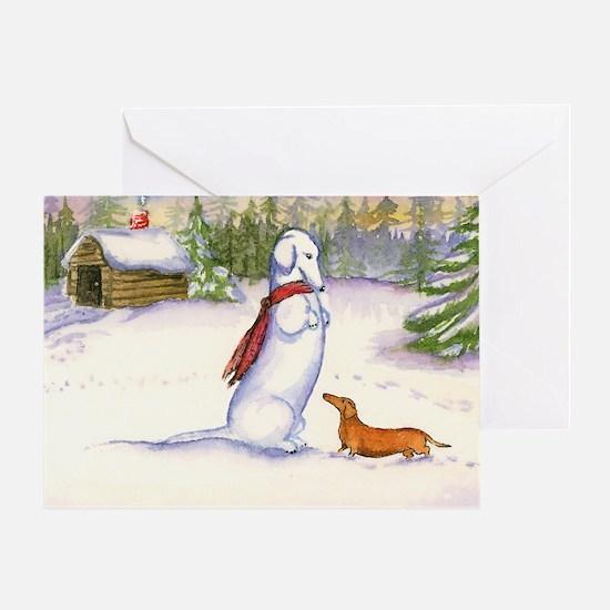 Snow Dachshund Christmas Card