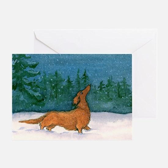 Longhaired Dachshund Christmas Card