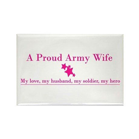 Proud Army Wife Rectangle Magnet - Pink