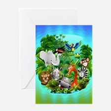 Wild Animals Cartoon on Jungle Greeting Cards