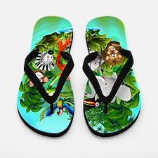 Wild Animals Cartoon on Jungle Flip Flops