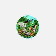 Wild Animals Cartoon on Jungle Mini Button