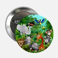 "Wild Animals Cartoon on Jungle 2.25"" Button (10 pa"