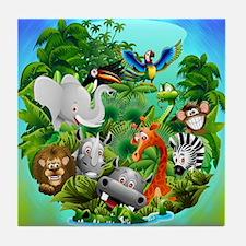 Wild Animals Cartoon on Jungle Tile Coaster