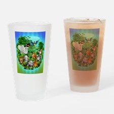 Wild Animals Cartoon on Jungle Drinking Glass