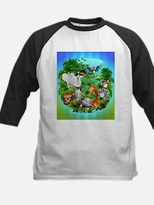 Wild Animals Cartoon on Jungle Baseball Jersey