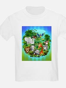 Wild Animals Cartoon on Jungle T-Shirt