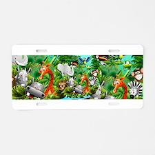Wild Animals Cartoon on Jungle Aluminum License Pl