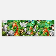 Wild Animals Cartoon on Jungle Bumper Bumper Bumper Sticker
