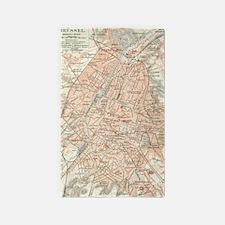 Vintage Map of Brussels Belgium (1907) Area Rug