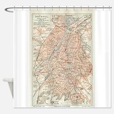 Vintage Map of Brussels Belgium (19 Shower Curtain