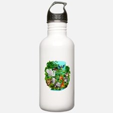 Wild Animals Cartoon on Jungle Sports Water Bottle