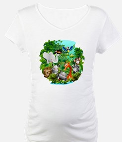 Wild Animals Cartoon on Jungle Shirt
