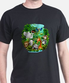 Wild Animals Cartoon on Jungle T-Shirt
