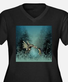 Cute fairy with steam dragon Plus Size T-Shirt
