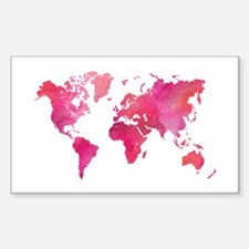Pink Watercolor World Map Decal