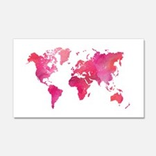 Pink Watercolor World Map Wall Decal