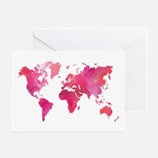 Pink Watercolor World Map Greeting Cards