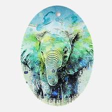 Unique Elephant Oval Ornament