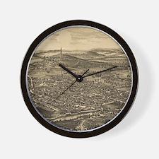 Vintage Pictorial Map of Bennington Ver Wall Clock