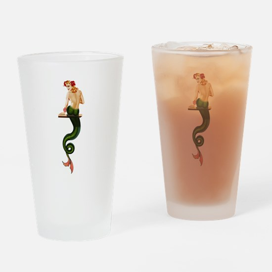 Vintage Pin Up Mermaid ~ Summer Drinking Glass