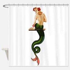 Vintage Pin Up Mermaid ~ Summer Shower Curtain