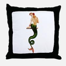 Vintage Pin Up Mermaid ~ Summer Throw Pillow