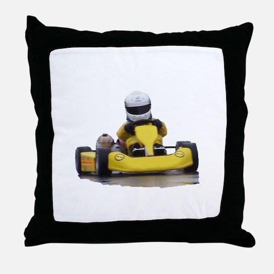 Kart Racing Yellow Kid Kart Throw Pillow