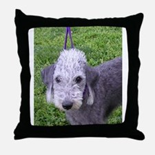 bedlington terrier grey Throw Pillow