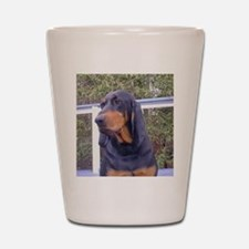 black and tan coonhound Shot Glass