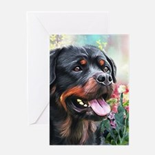 Rottweiler Painting Greeting Cards