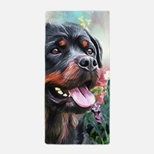 Rottweiler Painting Beach Towel