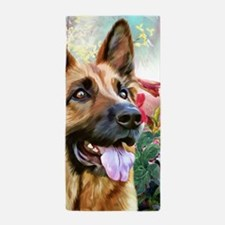 German Shepherd Painting Beach Towel