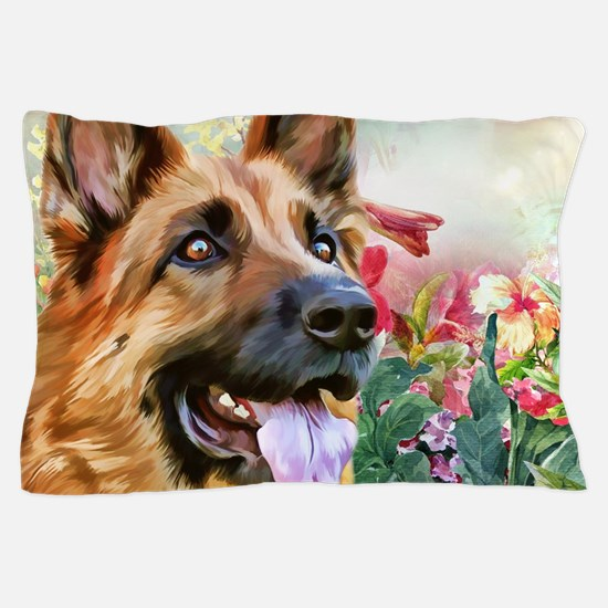 German Shepherd Painting Pillow Case