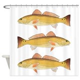 Red fish Shower Curtains