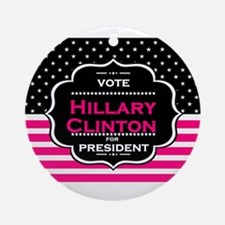 pink hillary clinton Round Ornament