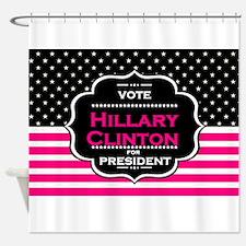 pink hillary clinton Shower Curtain