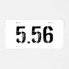 5.56 Ammo: White Aluminum License Plate