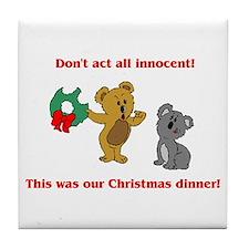 Koala Bear Christmas Tile Coaster