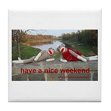 Nice Weekend Sock Monkey Tile Coaster