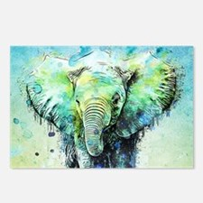 watercolor elephant Postcards (Package of 8)