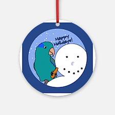 Snowman Blue Parrotlet Christmas Ornament