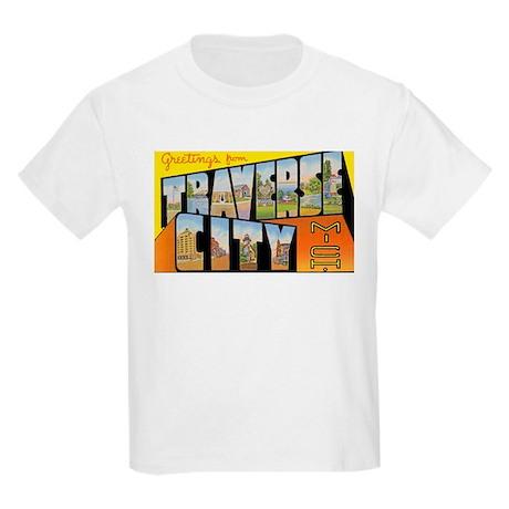 Traverse City Michigan (Front) Kids Light T-Shirt